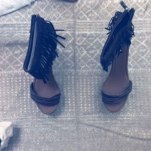 BROWN FRINGE HEELS